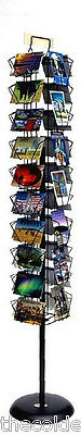 "Planet Racks 37 Pocket Rotating 4"" x 6"" Postcard Floor Display - Black"