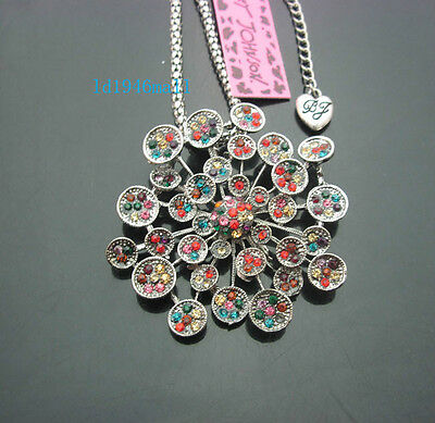 Betsey Johnson Colorful Crystal Antique Silver Flower Pendant Necklaces .#J716