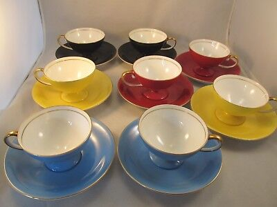 """Eight (8) Vintage Noritake Art Deco Demitasse Cups and Saucers """"Red M in Wreath"""""""