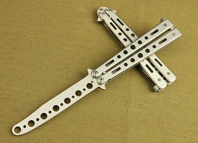 1X Practice Balisong Silver Metal Butterfly Steel Trainer Dull Knife New