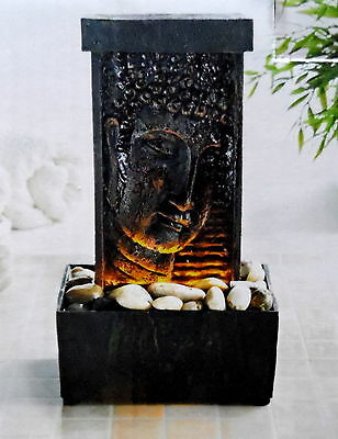 Water Buddha fountain meditation Feature led Light up tranQuil sound feng statue