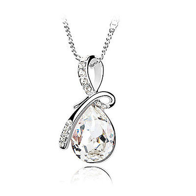 Women White Gold Plated Austria Crystal Clear Teardrop Pendant Chain Necklace