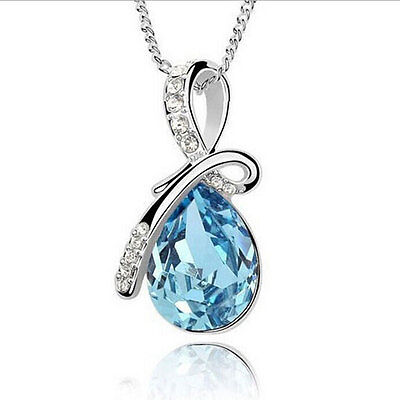 Fashion Women White Gold Plated Austria Crystal Teardrop Pendant Chain Necklace