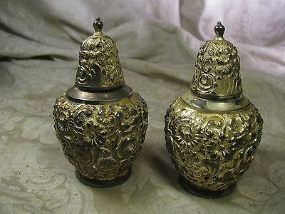 Weidlich Brothers W.B. MFG CO Silver Plated Repousse Style Salt Peper Shakers