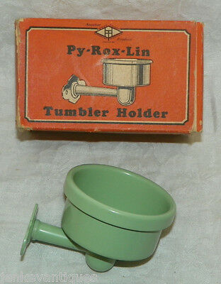 PY-ROX-LIN Vintage Udylite Green Tumbler Holder in Box - NOS - Bathroom Decor