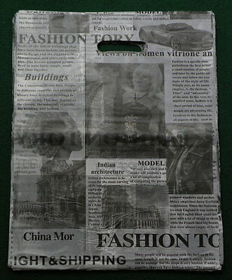 "12""x15"" 100 PC Newspaper Print Fashion Poly/Plastic Retail Shopping Gift Bag #B"