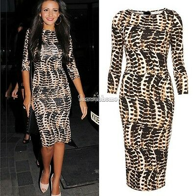 Ladies Celeb Leopard Print Tribal Womens Long Midi Pencil Bodycon Dress SH