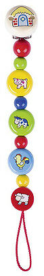 Heimess FARM ANIMALS CLIP ON DUMMY/SOOTHER CHAIN Wooden Baby/Child Toy BN