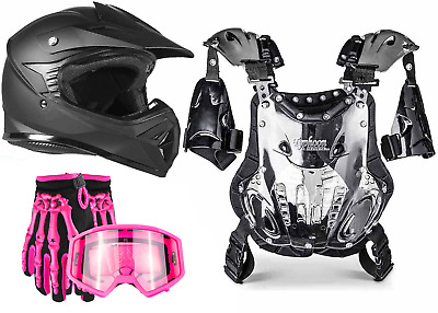 Youth PeeWee MX ATV Gear Helmet Gloves Goggles Chest Protector Pink Matte Black