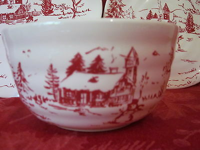 MAXCERA HOLIDAY TOILE SNOWMAN NORDIC WINTER CHRISTMAS SOUP BOWLS SET OF 4 NEW