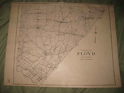 Large Antique 1907 Floyd Camroden Oneida County New York Handcolored Map Fine Nr