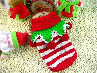 New Pet Christmas Sweater Stripe Dog Clothes Puppy Hoodie for Dogs & Cats XS