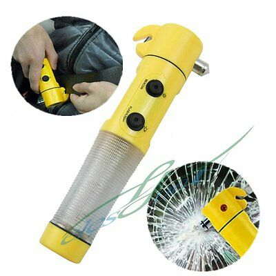 4in1 LED Flashlight Torch Belt Cutter Safety Car Auto Emergency Escape Hammer