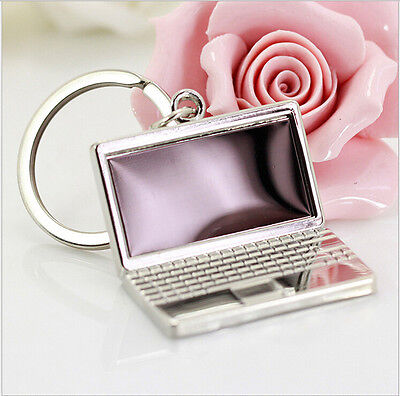 HJ Laptop Computers Model Keyring Polished Chrome Keychain Classic 3D Gift