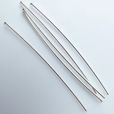 """500 Head pins thin soft 50mm/2"""" Silver plated top quality findings"""