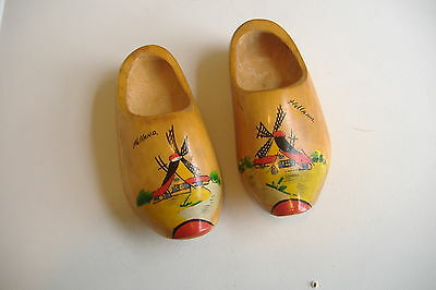 Vintage~Small Pair Of Decorative Wood Shoes~Handmade In Holland~
