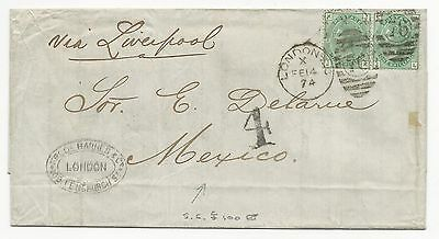 GREAT BRITAIN Scott #64a on Cover London 1874