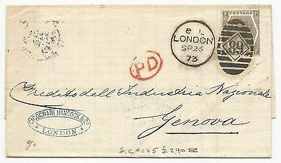 GREAT BRITAIN Scott #60 on Cover London 1873