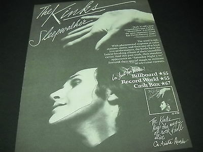 KINKS Sleepwalker IN JUST TWO WEEKS is moving up the charts 1977 PROMO POSTER AD