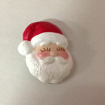 Hand Painted Santa Brooch~Christmas~Holiday~Festive
