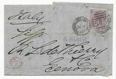 GREAT BRITAIN Scott #45 Pl #6 on Cover 1868