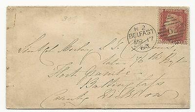 GREAT BRITAIN Scott #18 on Cover Tied by Belfast, Ireland CDS 1863