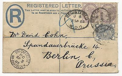 GREAT BRITAIN Registered Letter Cover 1885 Prussia