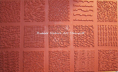 "15 Rubber Nature Art Stamps Deep Etched 2"" Sq Textures 4 Polymer Clay PMC Fabric"