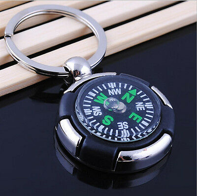 New Survival Ruder Compass Pendant Keychain Outdoor Camping Hiking Key Ring Gift