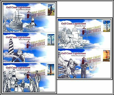 2009 Gulf Coast Lighthouses #4409-4413 First Day Of issue Cover Set of 5