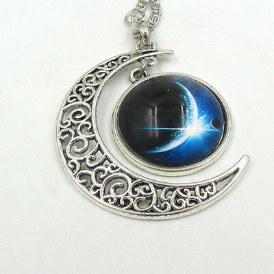 Creative Colorful Galaxy Glass Hollow Moon Shape Pendant Silver Tone Necklace@13