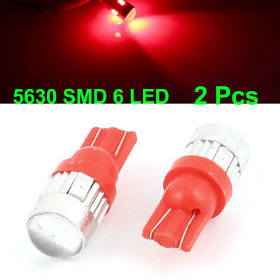 2 Pcs T10 W5W 5630 6-SMD LED Dashboard Light Bulbs Projector Lens Red Internal