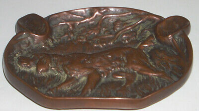 Heavy Vintage Solid Bronze Ashtray with Irish Setter Hunting Dog Motif