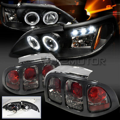 94-98 Ford Mustang Halo Projector LED Black Headlights+Smoke Tail Brake Lamps