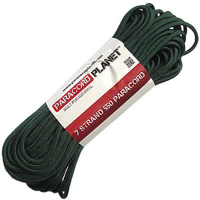 Emerald Green 550 Paracord Mil Spec Type III 7 Strand Parachute Cord 100 ft