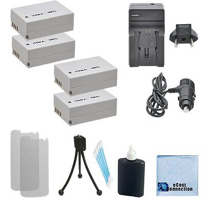 4 NB-7L Battery + Car/Home Charger For Canon CB-2LZ, 2LZE PowerShot G10 &Mre
