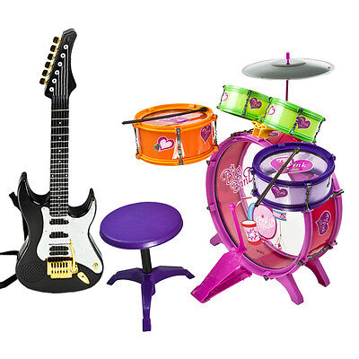 Black Electric Guitar Toys Girl Children Playset 8pc Colorful Music Set Drum