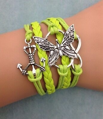 NEW Infinity Butterfly Anchor Leather Charm Bracelet plated Silver DIY Green
