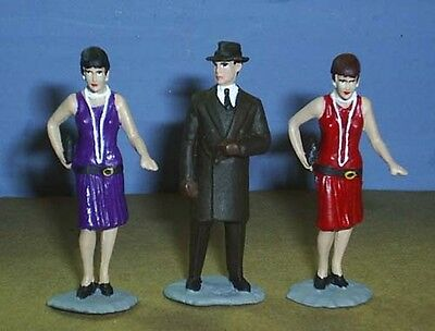 TOY SOLDIERS TIN 1930'S GANGSTER PIMP AND CALL GIRLS 3 PC SET 54MM