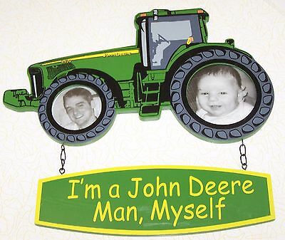 JOHN DEERE TRACTOR 2 pc WOOD SIGN PICTURE FRAME for 2 PICS I'm a John Deere Man