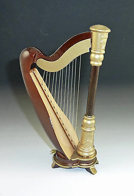 "Dollhouse Miniature Wooden Harp, 5"" tall"