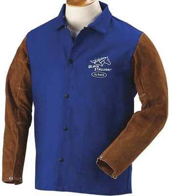 BLACK STALLION FRB9-30C/BS Welding Jacket, FR, Cow Split, Navy, 4XL