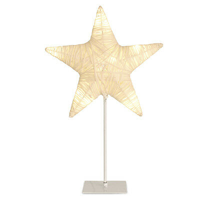 Modern Battery Powered White Wicker Style LED Star Light on Metal Stand Lamp NEW