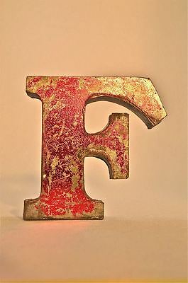 Fantastic Retro Vintage Style Red 3D Metal Shop Sign Letter F Advertising Font