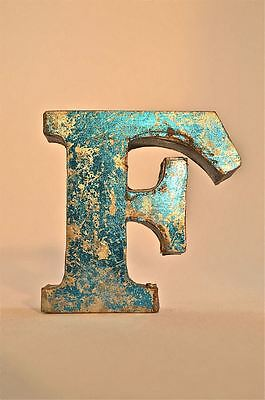 Fantastic Retro Vintage Style Blue 3D Metal Shop Sign Letter F Advertising Font