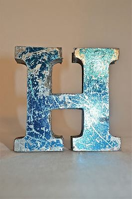 Fantastic Retro Vintage Style Blue 3D Metal Shop Sign Letter H Advertising Font