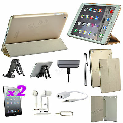 9 in 1 Accessory Bundle Kit Gold Leather Case Cover Stand For iPad Air 2/iPad 6