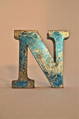 Fantastic Retro Vintage Style Blue 3D Metal Shop Sign Letter N Advertising Font