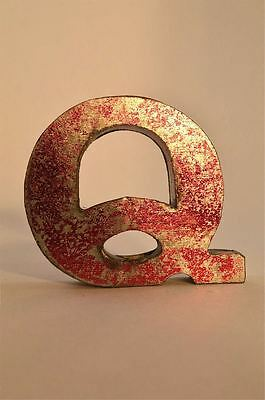 Fantastic Retro Vintage Style Red 3D Metal Shop Sign Letter Q Advertising Font