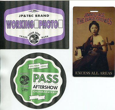 The Black Crowes & Jimmy Page 3 Backstage Passes from 2000 USA Tour Unused New